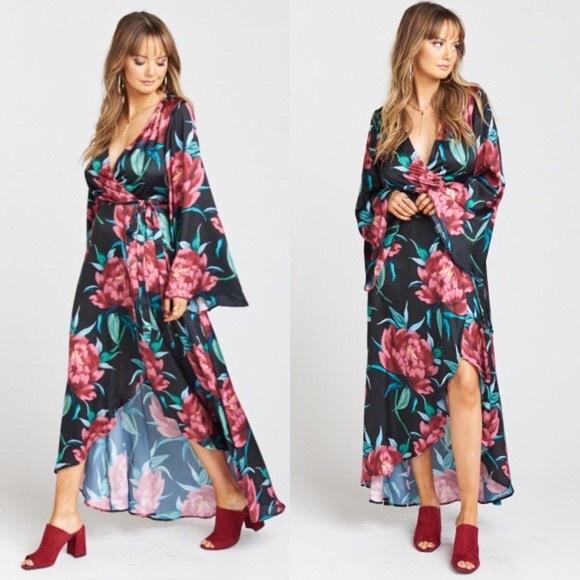 Show Me Your MuMu Dresses & Skirts - SMYM Anita Wrap Dress- Ruby Bloom Satin